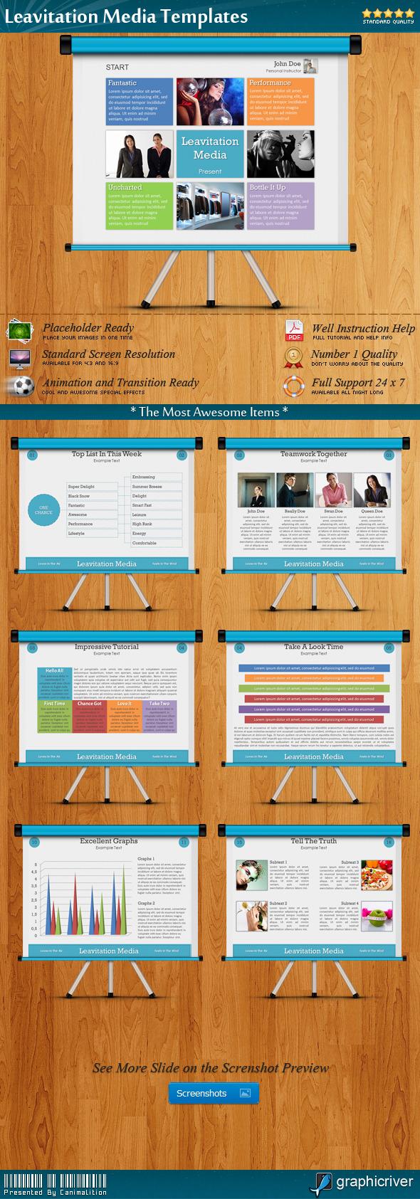 Leavitation Media Presentation Templates - Creative PowerPoint Templates