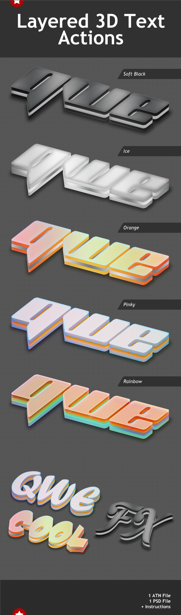 Layered 3D Text Effects Action - Text Effects Actions