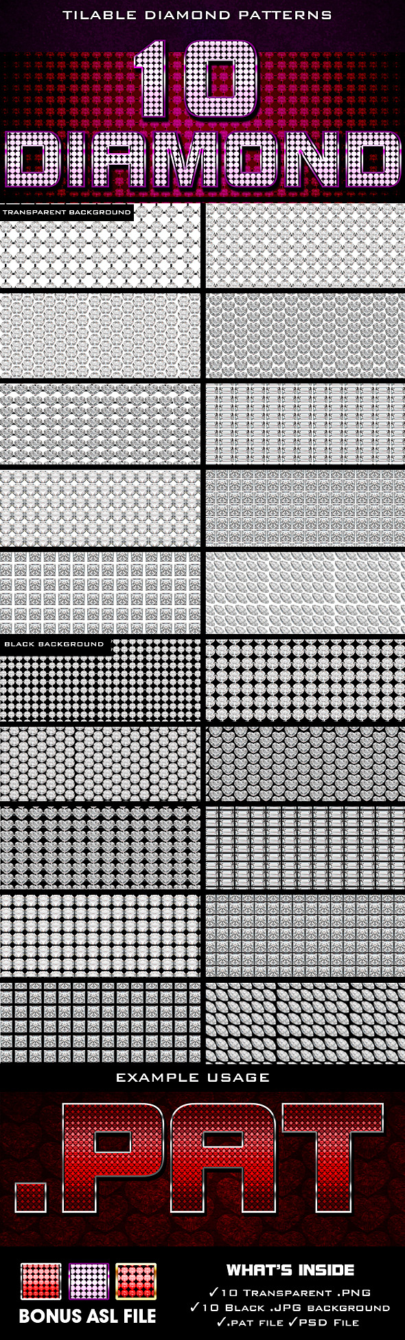 Diamond Patterns - Textures / Fills / Patterns Photoshop