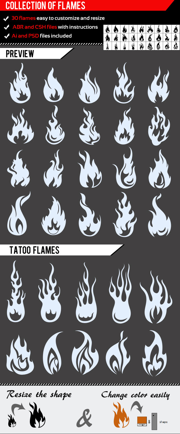 Collection Of Flames - Flourishes Brushes