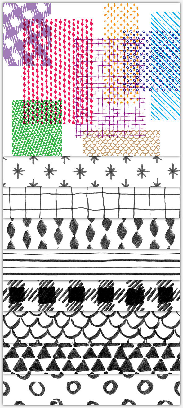 Hand-Drawn, Seamless Patterns - Artistic Brushes
