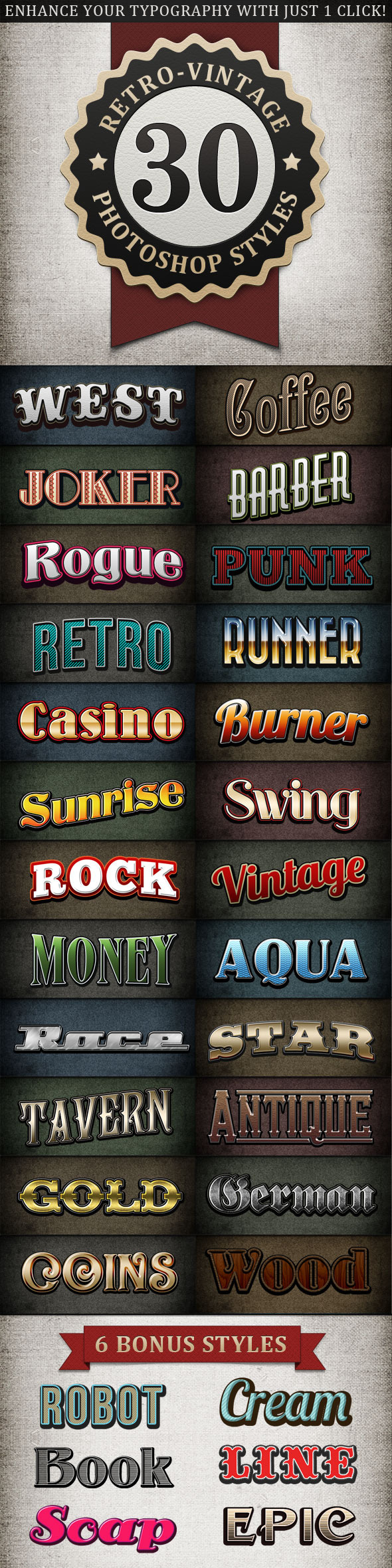 Retro - Vintage Text Styles Bundle - Text Effects Styles