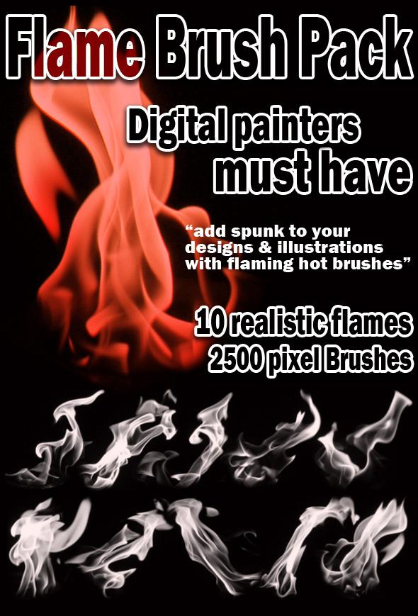 Realistic Flame Brush Set - Flourishes Brushes