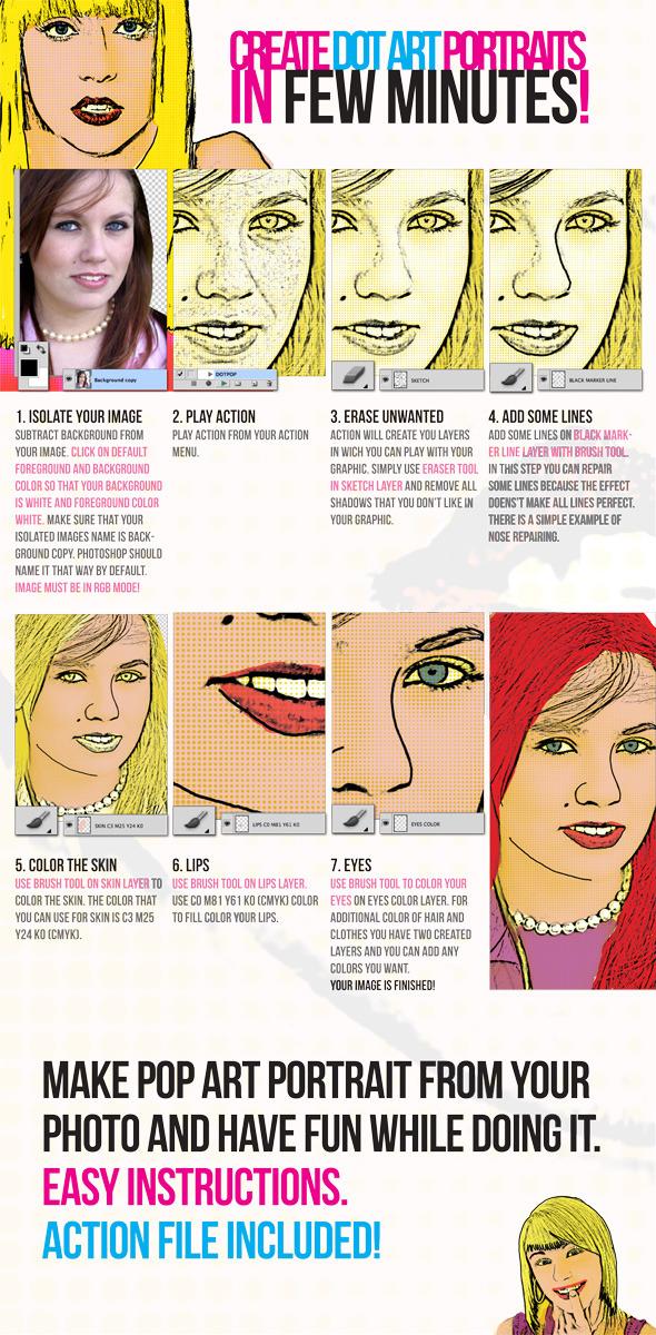 Pop Art Dot Comic Portrait Action - Photoshop Add-ons