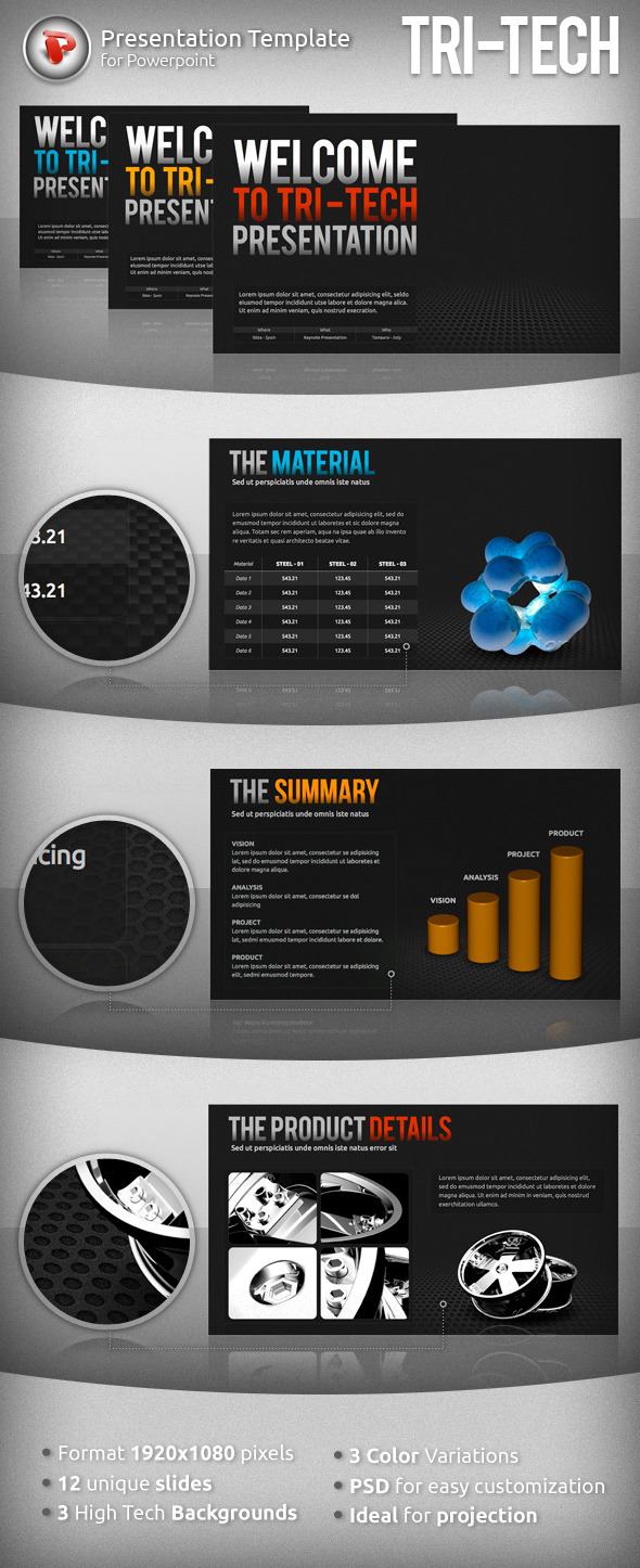 Tri-Tech Powerpoint Presentation - PowerPoint Templates Presentation Templates
