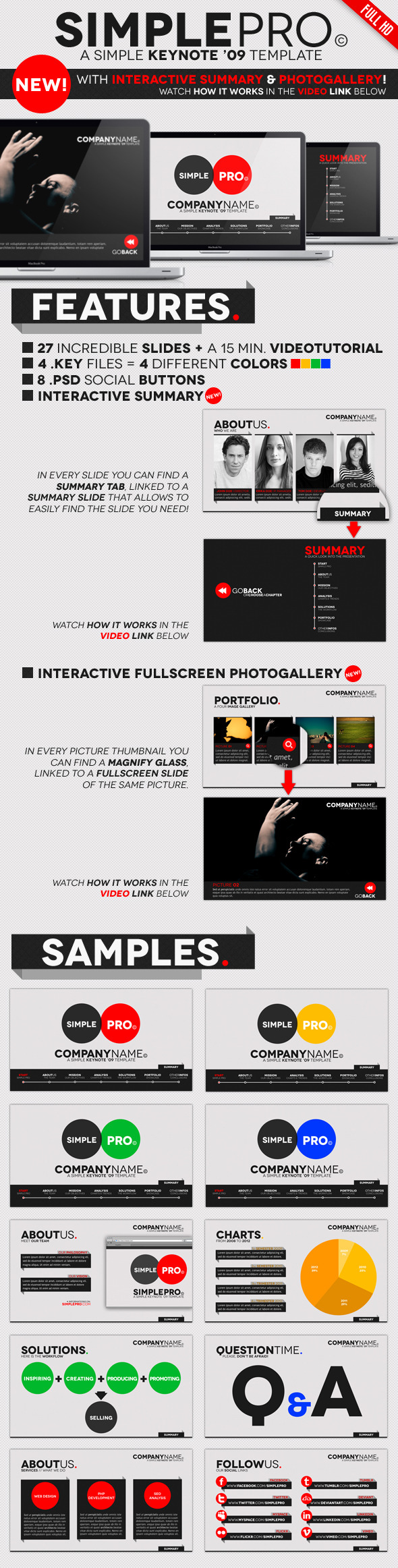 Simple Pro - Keynote Interactive Template - Business Keynote Templates