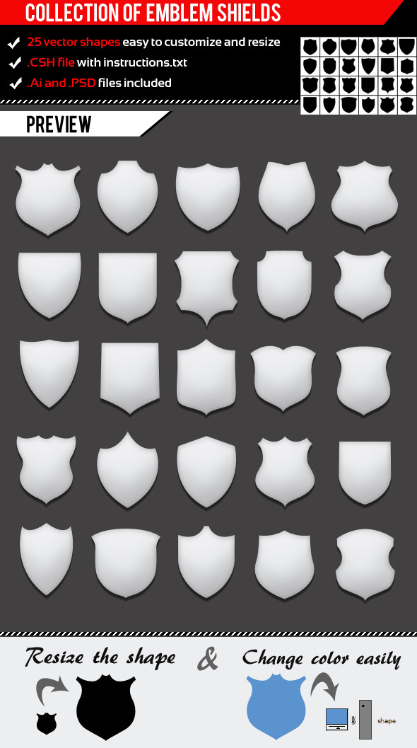 Collection Of Emblem Shields - Photoshop Add-ons