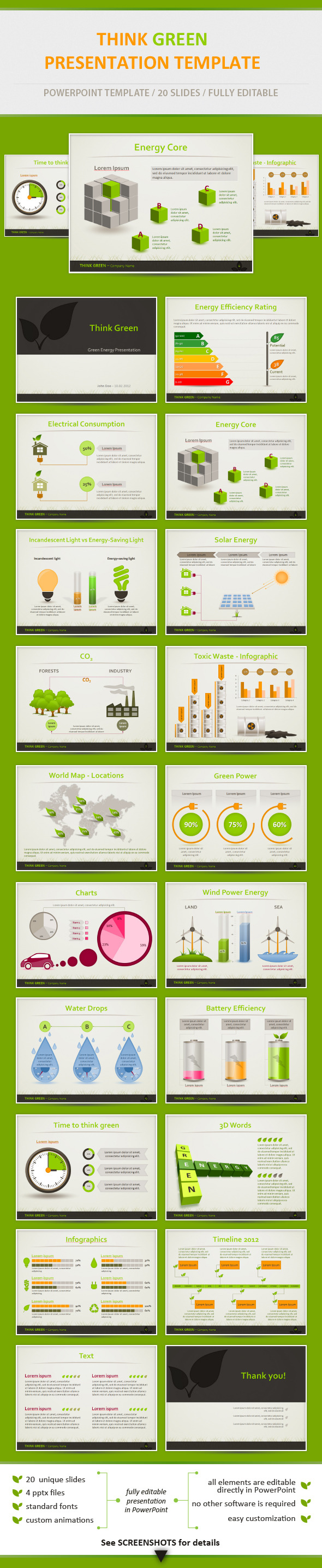 Think Green - Eco Friendly Presentation Template - PowerPoint Templates Presentation Templates