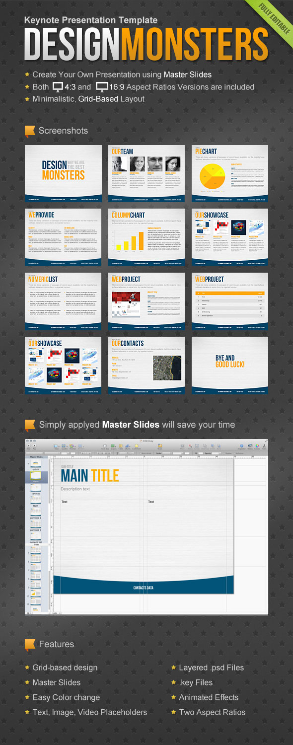 DesignMonsters Keynote Presentation Template - Business Keynote Templates