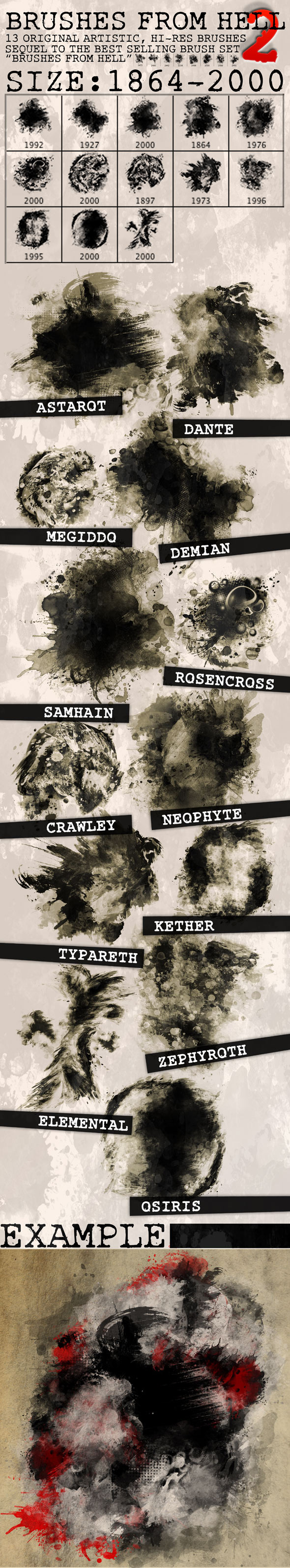 13 Hi-Res Brushes from Hell 2 - Abstract Brushes