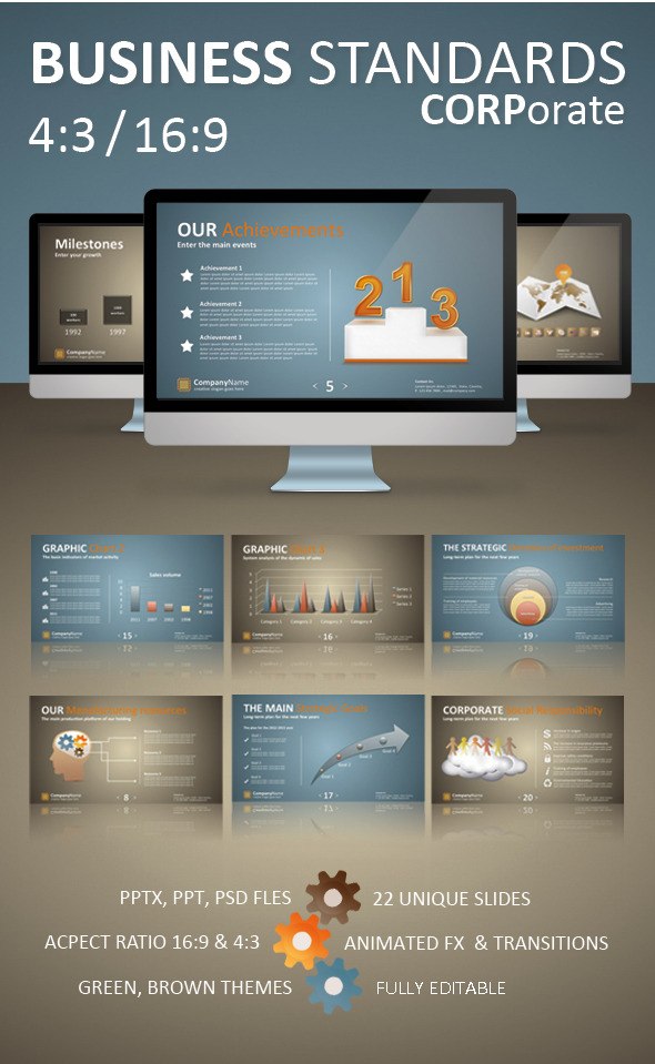 """Business Standards: Corporate Presentation"" - Business PowerPoint Templates"