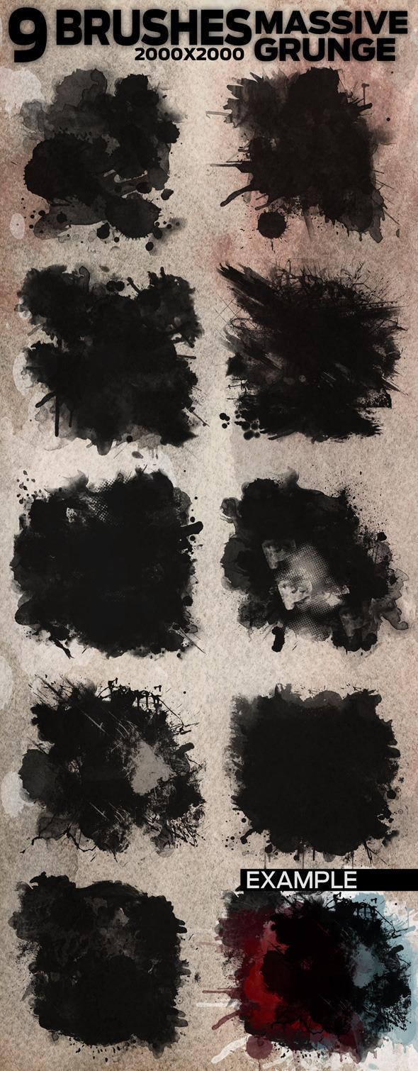 9 Massive Grunge Brushes - 2000x2000 - Grunge Brushes