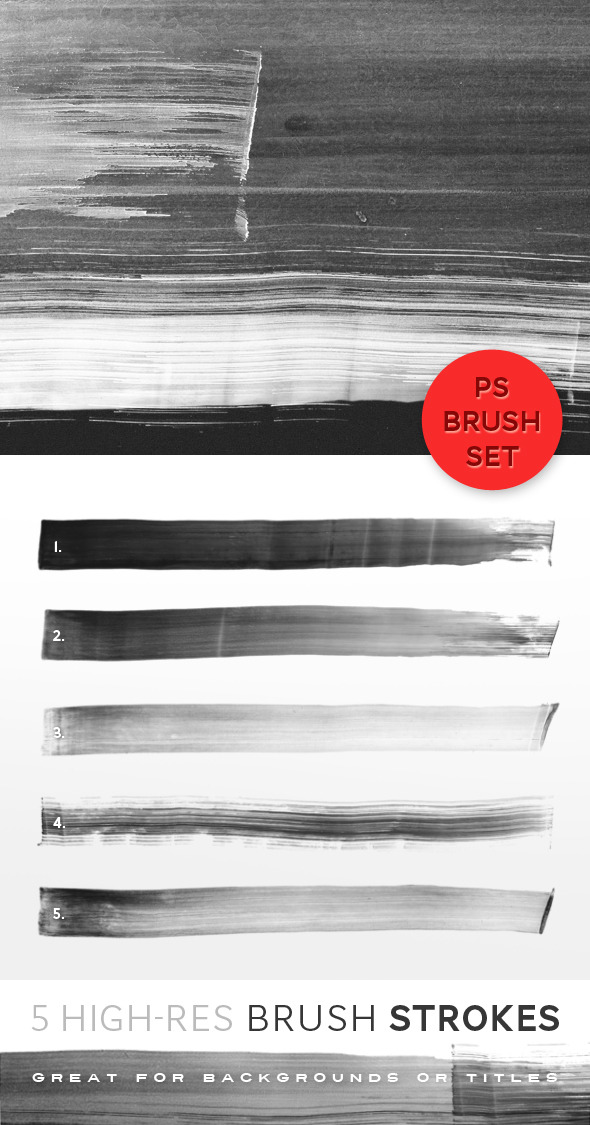 5 Hi-Res Brush Strokes - Artistic Brushes