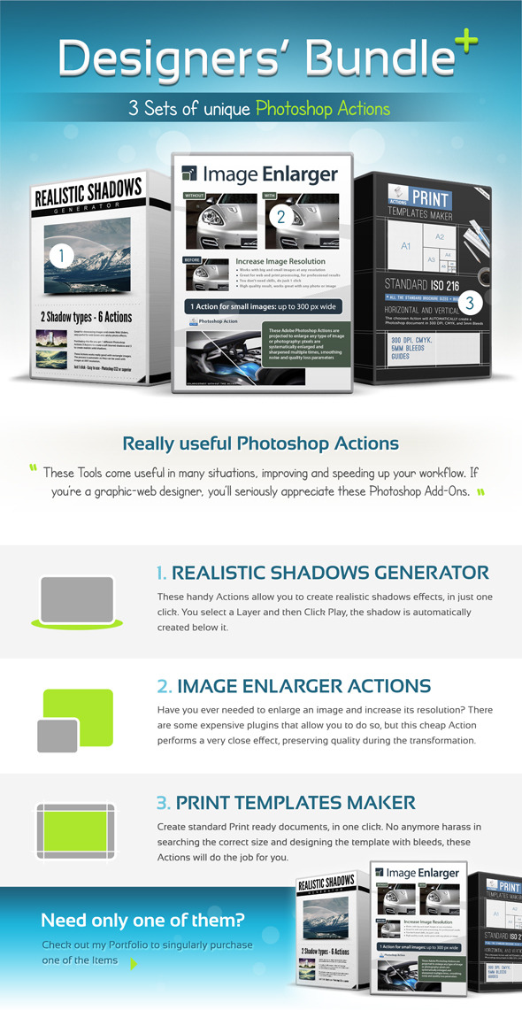 Designers Bundle, Professional photoshop Actions Pack - 3 in 1 - Utilities Actions