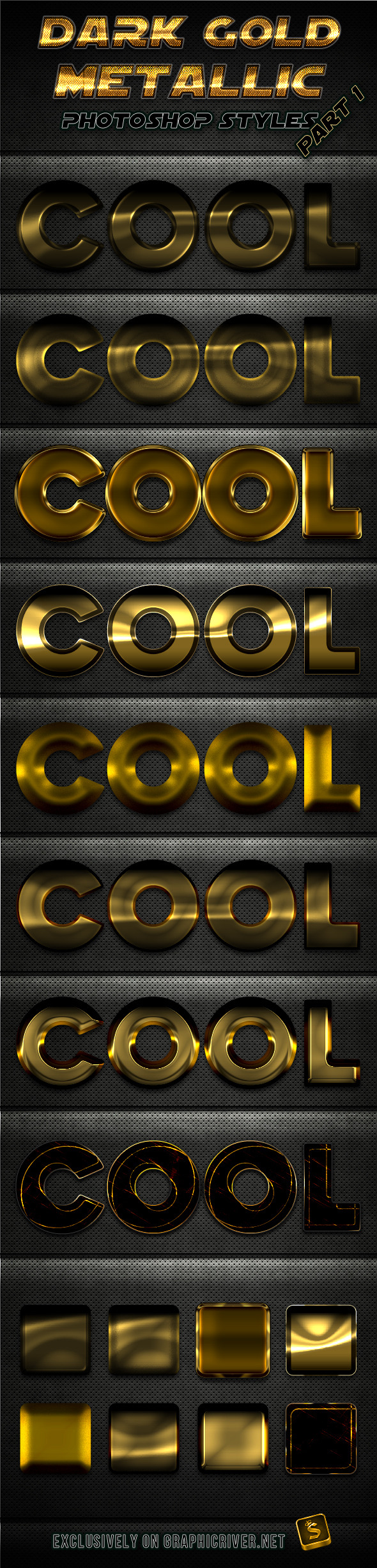 Dark Gold Metallic Photoshop Styles - Part 1 - Text Effects Styles