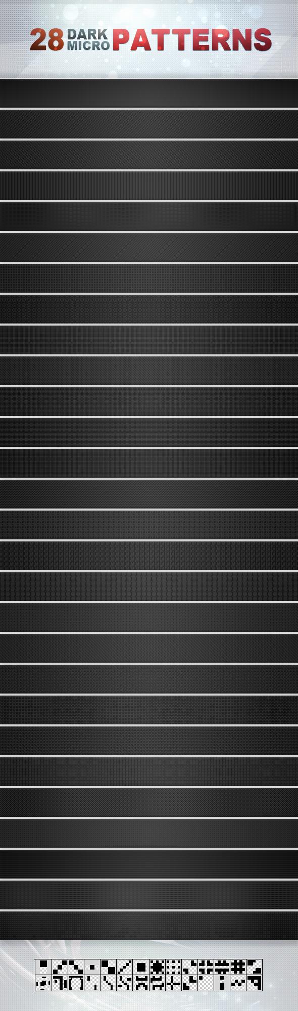 28 Dark Micro Patterns - Textures / Fills / Patterns Photoshop