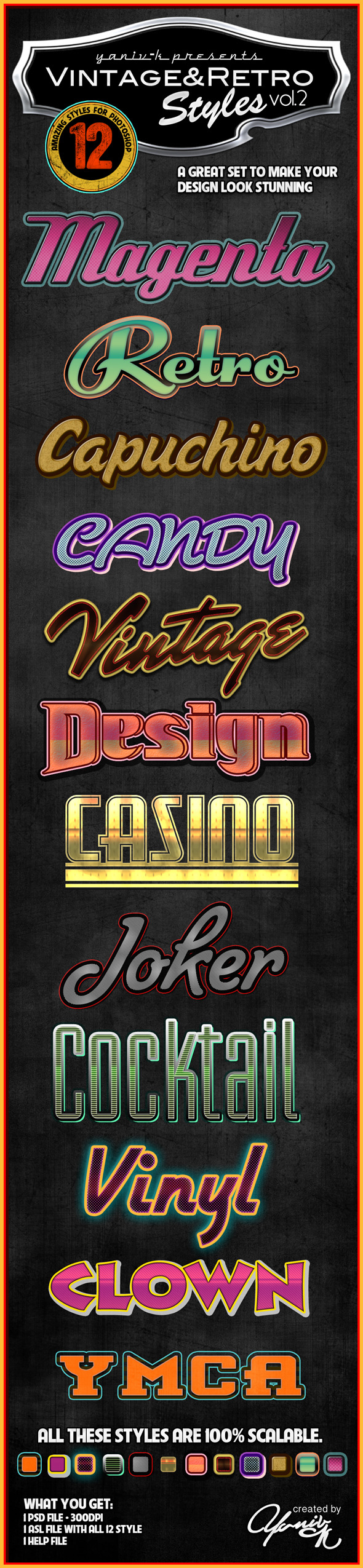 Vintage Retro Photoshop Styles Vol.2 - Text Effects Styles