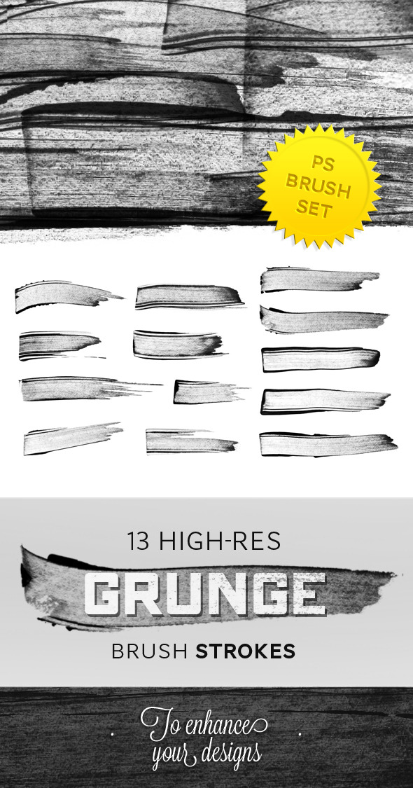 Hi-Res Grunge Brush Strokes - Photoshop Add-ons