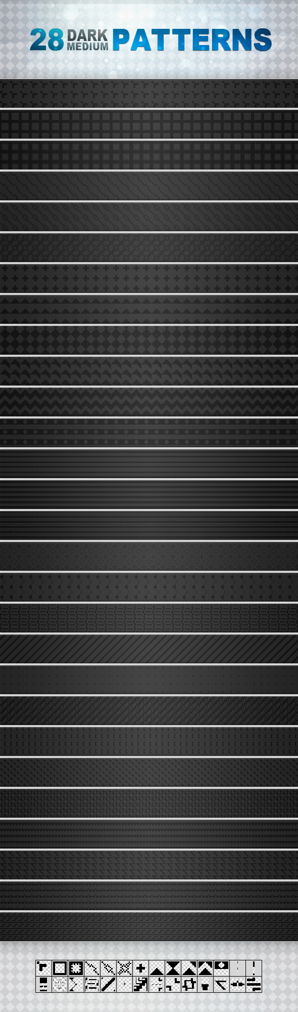 28 Dark Medium Patterns - Textures / Fills / Patterns Photoshop