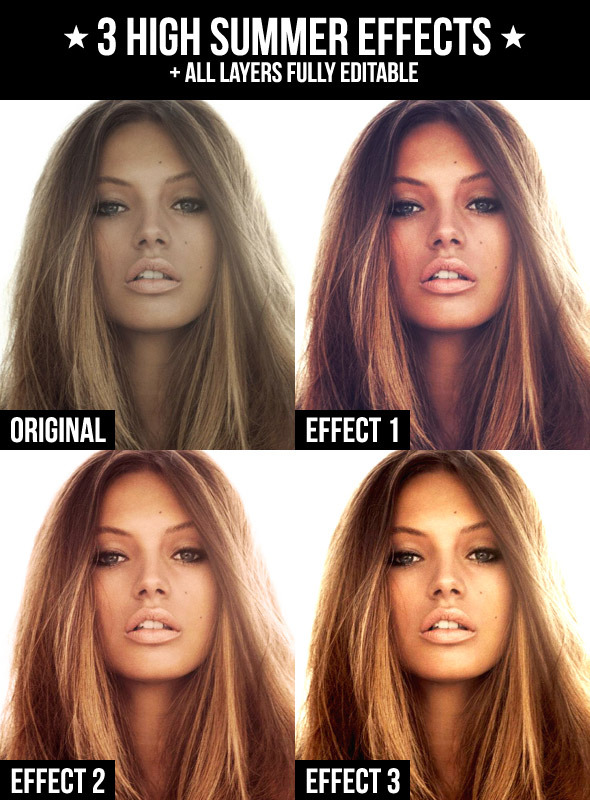 3 High Summer Effects - Photo Effects Actions