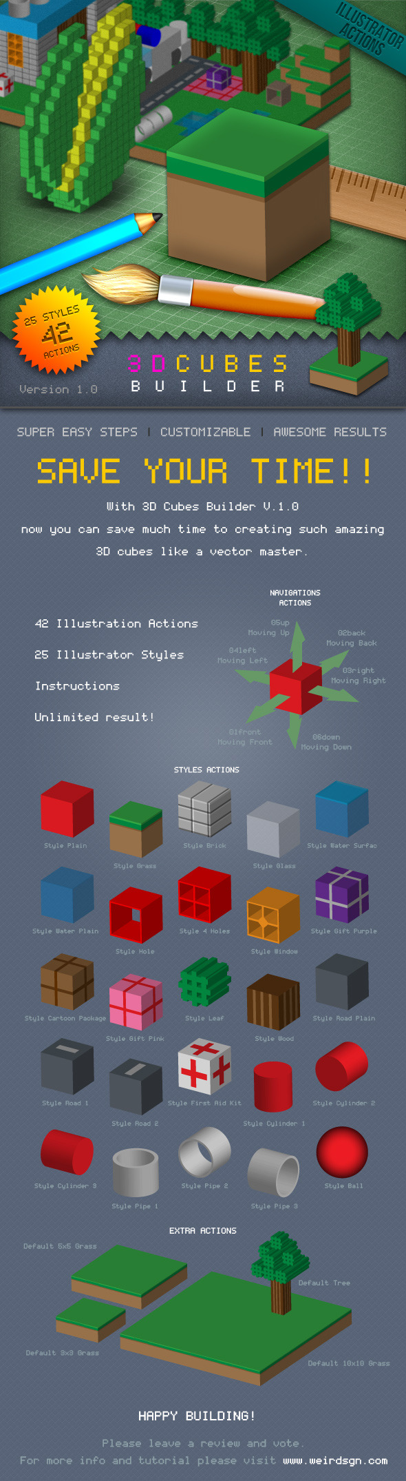 3D Cubes Builder - Actions Illustrator