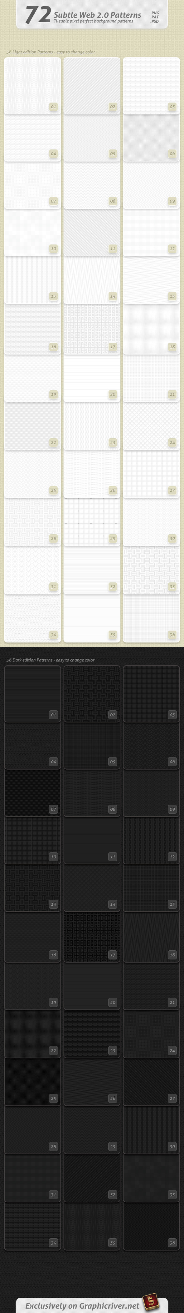 72 Subtle Web 2.0 Patterns - Textures / Fills / Patterns Photoshop