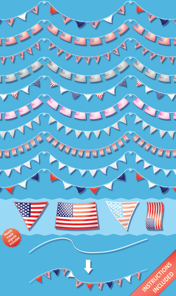 US Pennant Flag Brushes & Ready-Made Objects - Brushes Illustrator