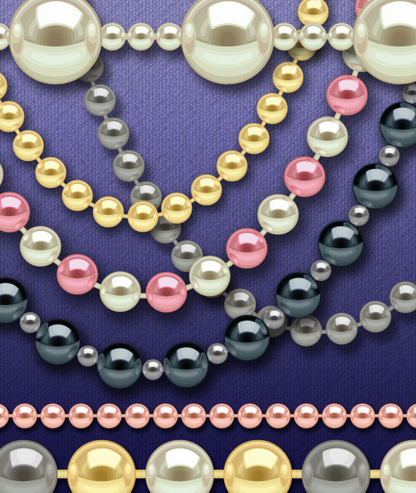 String of Pearls Layered Brushes Set  - Brushes Illustrator