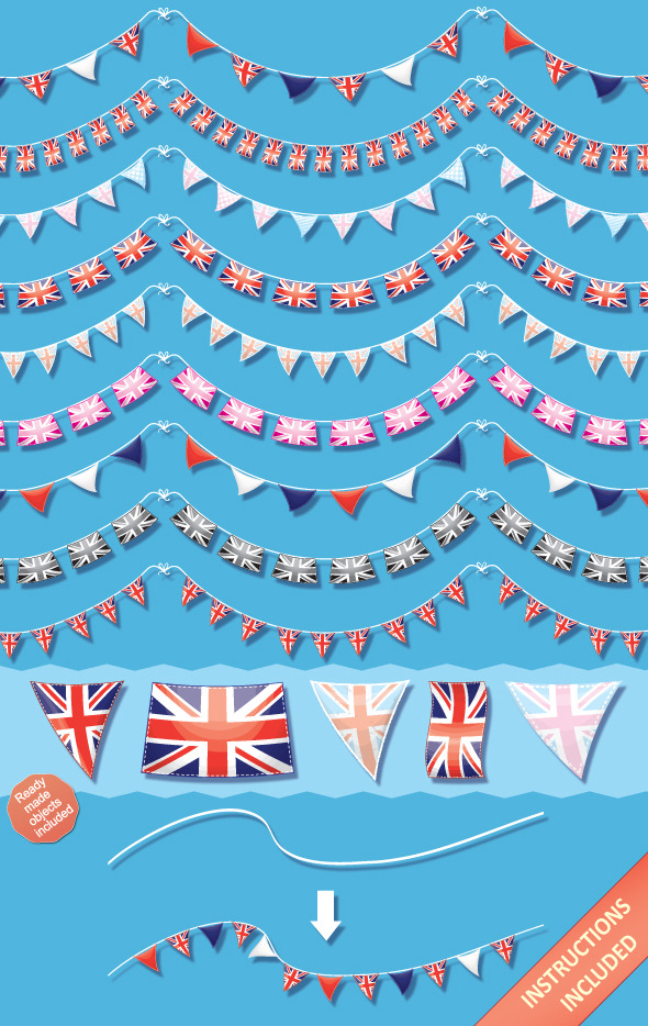 Union Jack Bunting Brushes and Ready-Made Objects - Brushes Illustrator