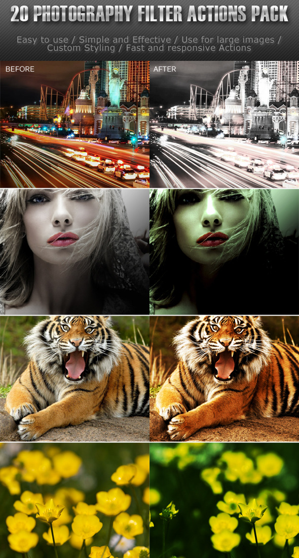 20 Photography Filter Actions (Pack 1) - Photoshop Add-ons