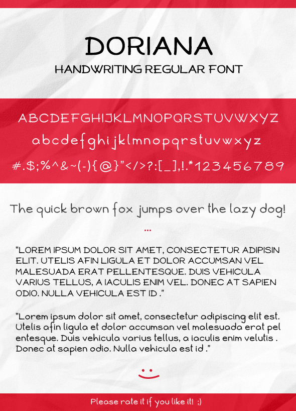 Doriana Handwriting Regular Font - Handwriting Fonts