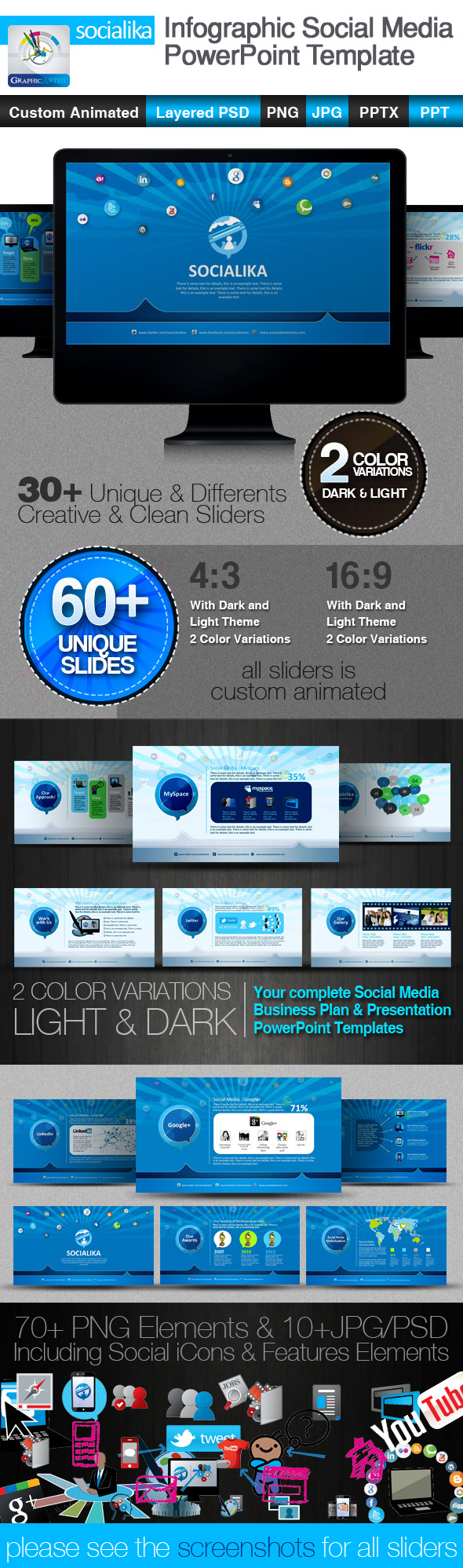 Socialika Infographic Social Media PowerPoint - Business PowerPoint Templates