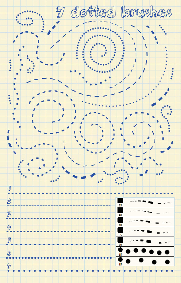 7 Dotted Lines Brushes - Artistic Brushes