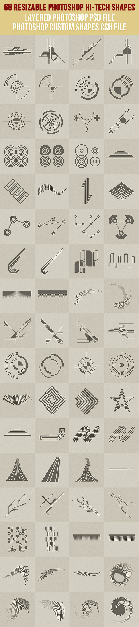 68 Photoshop Hi-Tech Shapes 1 - Symbols Shapes