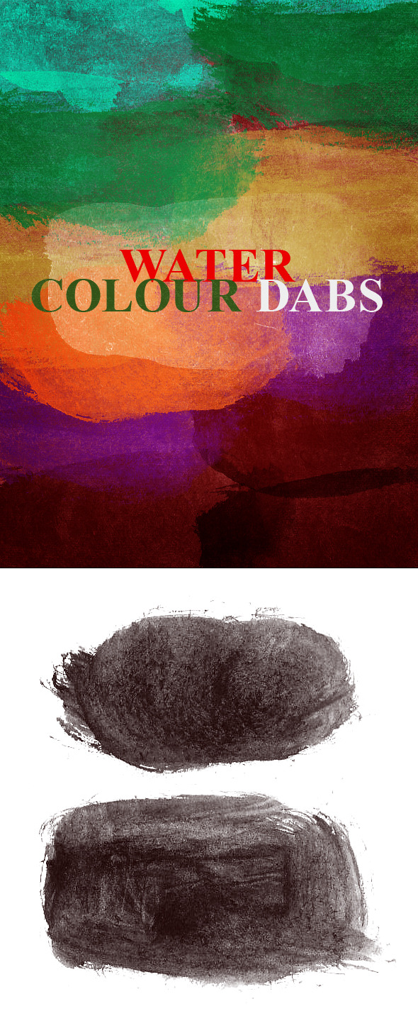 30 Watercolor Dabs Photoshop Brush  - Grunge Brushes