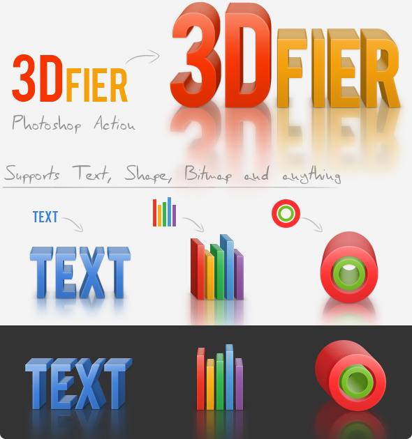 3Dfier – Solid Maker Action with 3D Reflection - Actions Photoshop