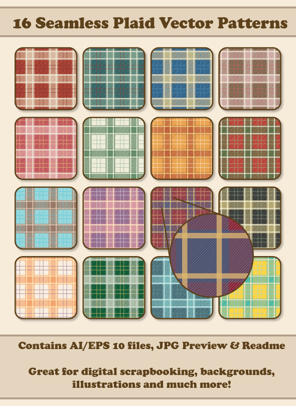 16 Seamless Plaid Vector Patterns - Miscellaneous Textures / Fills / Patterns