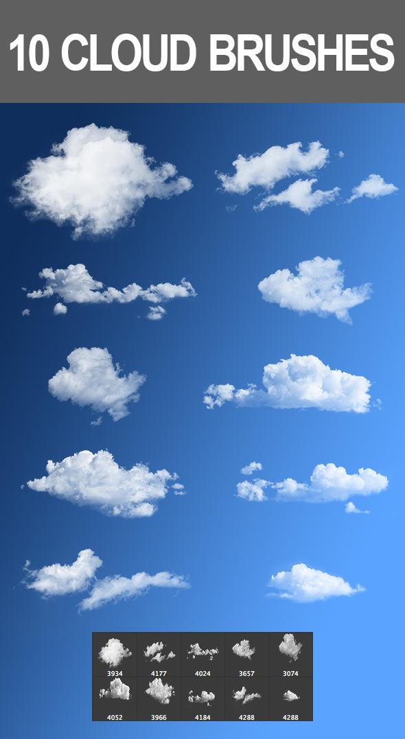 10 Cloud Brushes - Brushes Photoshop