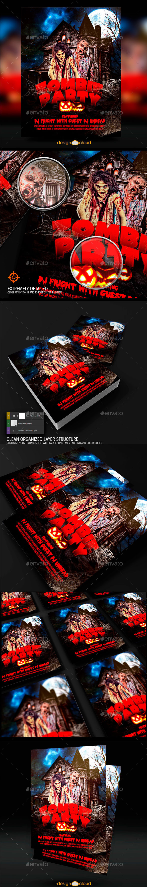 Zombie Halloween Party Flyer Template - Holidays Events