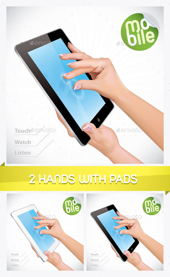 2 Hand Holding Tablet Pad Illustrations - Miscellaneous Conceptual