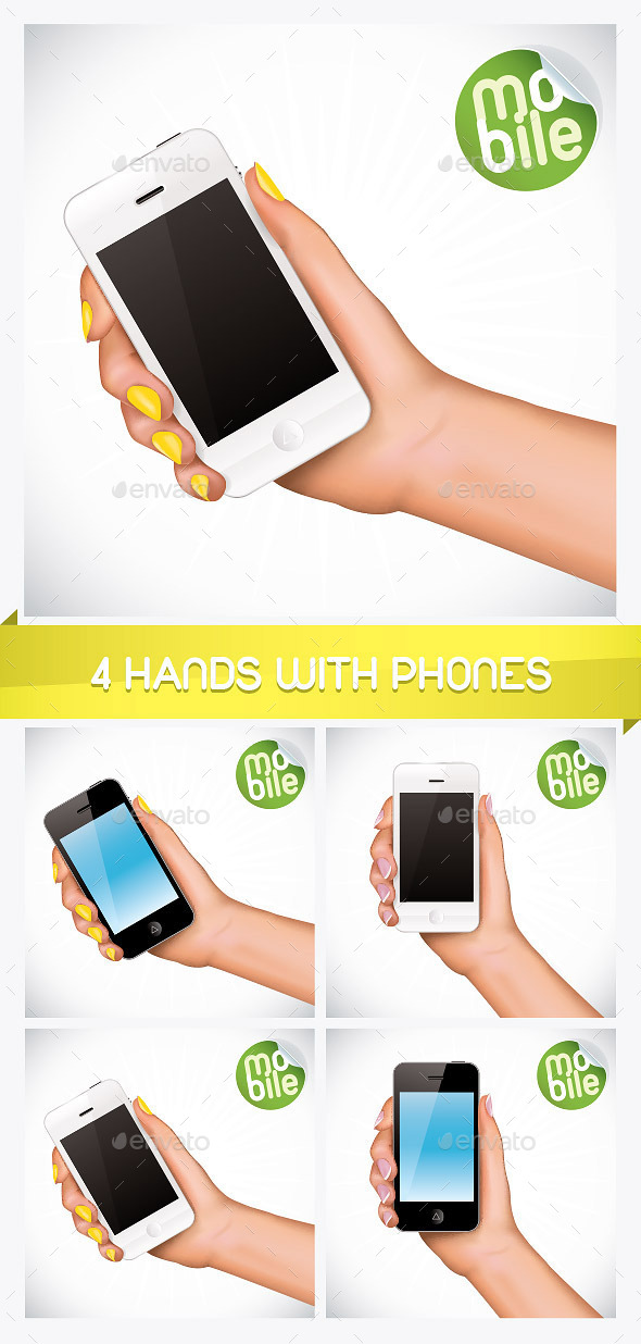 4 Hand Holding Mobile Phone Illustrations  - Miscellaneous Conceptual
