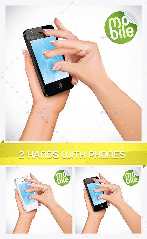 2 Vector Hand Holding Mobile Phone Illustrations - Miscellaneous Conceptual