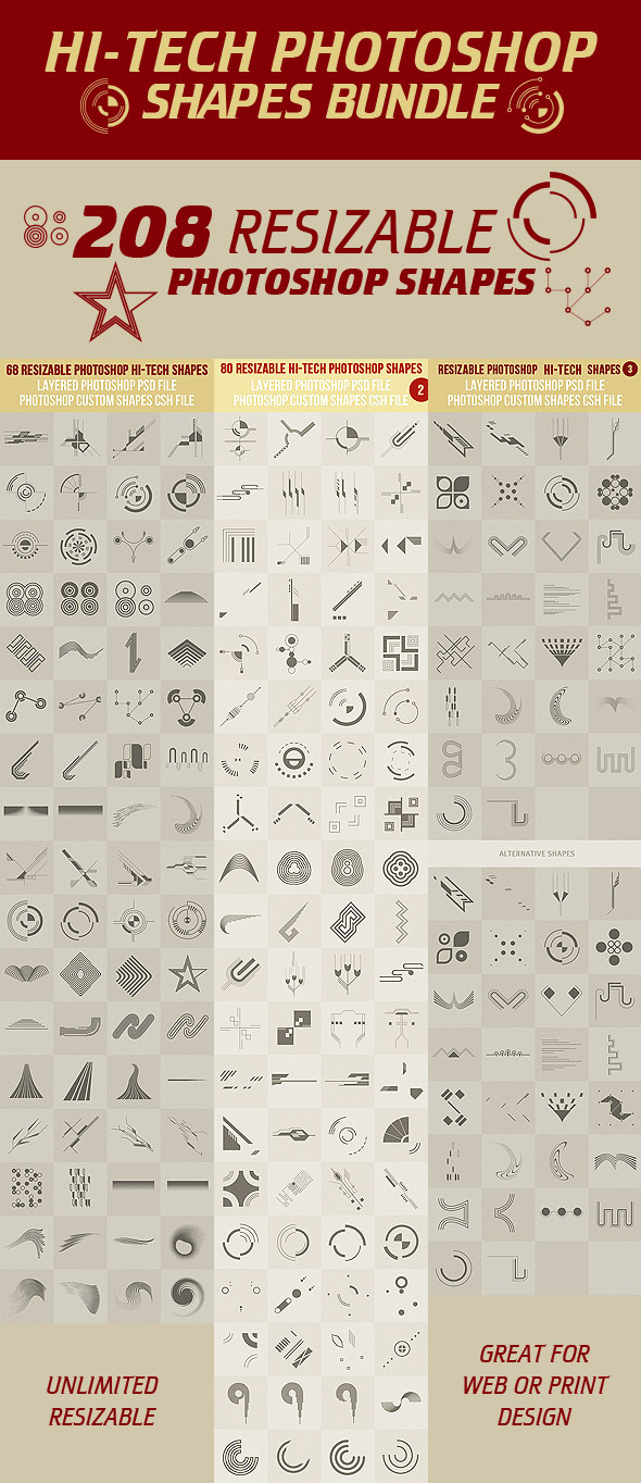 Hi-Tech Photoshop Shapes Bundle - Symbols Shapes
