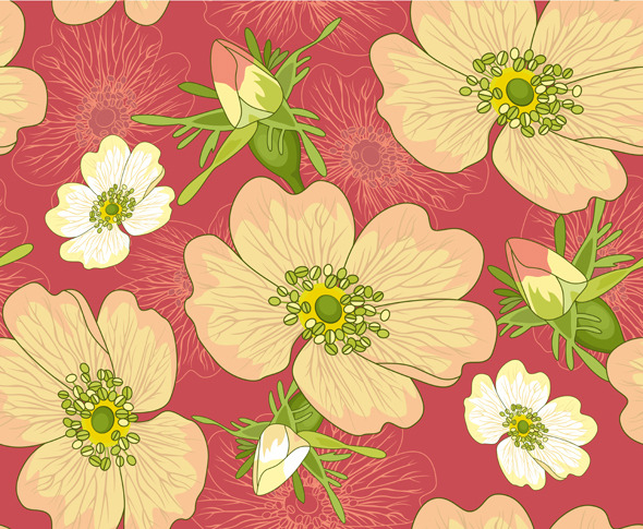 Seamless Background Wild Rose - Textures / Fills / Patterns Illustrator
