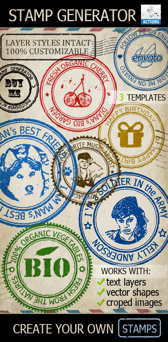 Rubber Stamp Generator Photoshop Action By Psddude