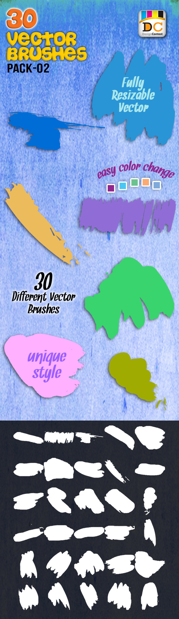 30 Special Vector Art Brushes_Pack 02 - Artistic Brushes