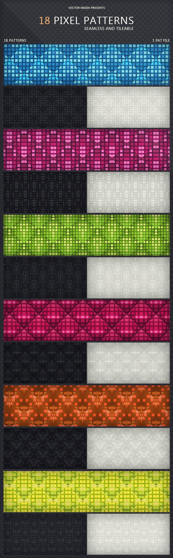 18 Pixel Patterns - Techno / Futuristic Textures / Fills / Patterns