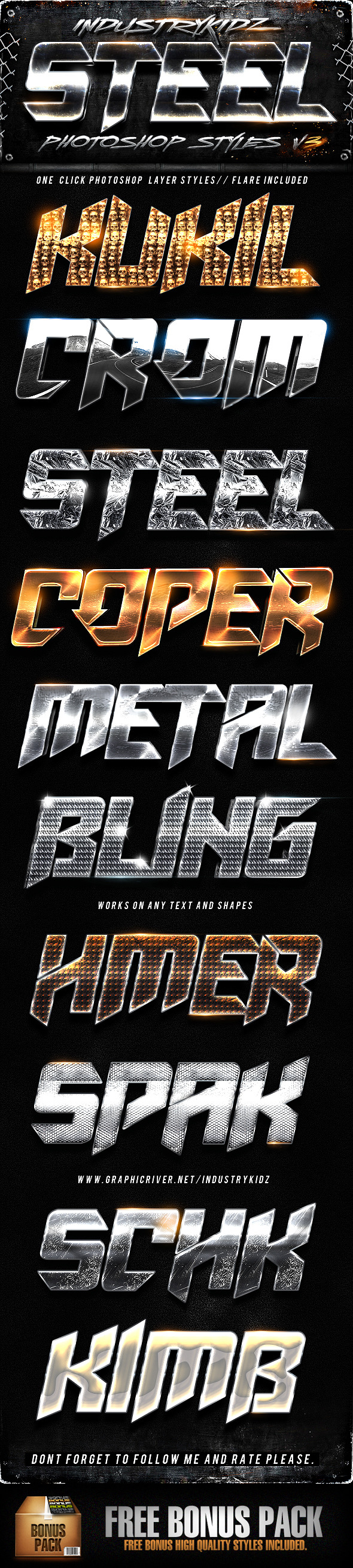 Steel Photoshop Layers Styles V3 - Text Effects Styles