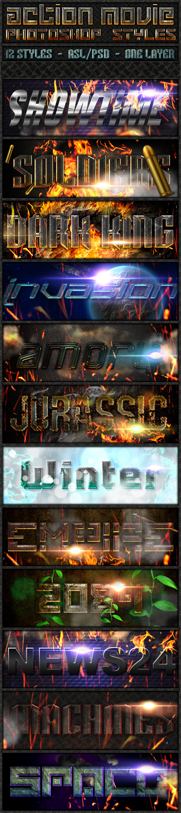 Action Movie - Text Styles - Text Effects Styles