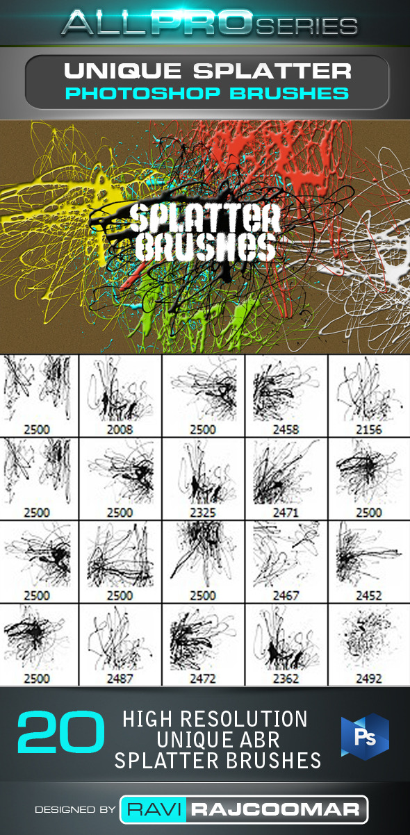 Unique Splatter Photoshop Brushes - Artistic Brushes